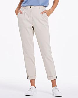 Stone Cotton Rich Stretch Chino Trousers