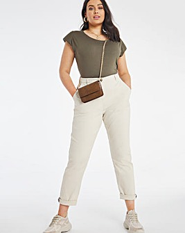 Stone Cotton Rich Stretch Chino Trousers