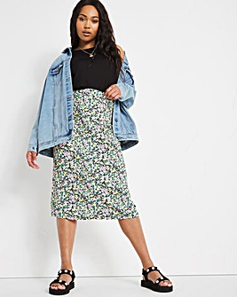Yellow Floral Jersey Midi Skirt