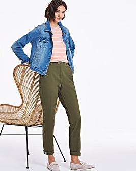 Khaki Cotton Rich Stretch Chino Trousers