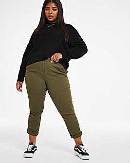 Khaki Cotton Rich Stretch Chino Trousers