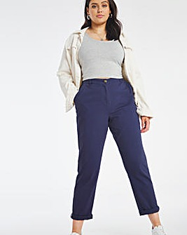 Navy Cotton Rich Stretch Chino Trousers