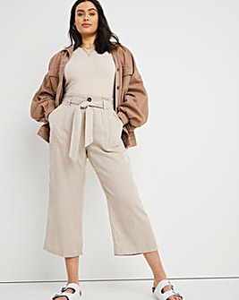 Stone Soft Lyocell Belted Culottes