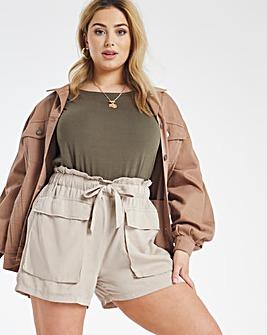 Stone Soft Tencel Belted Utility Shorts