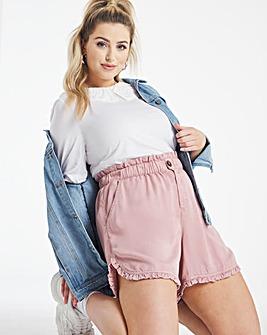 Pink Soft Lyocell Frill Shorts