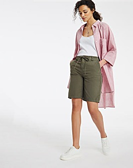Khaki Pure Cotton Relaxed Shorts With Elasticated Waist