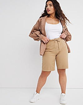 Camel Pure Cotton Relaxed Shorts With Elasticated Waist