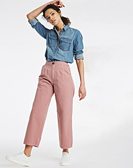 Dusty Pink Wide Leg Crop Carpenter Trousers With Contrast Stitch