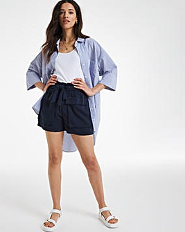 Navy Tencel Belted Utility Shorts
