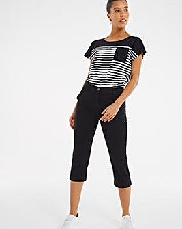 Black Crop Stretch Chino Trouser