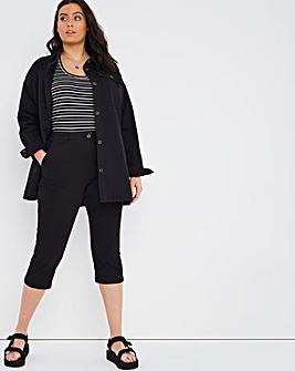 Black Crop Stretch Chino Trouser