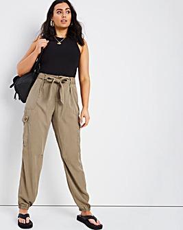 Khaki Soft Lyocell Cargo Pant
