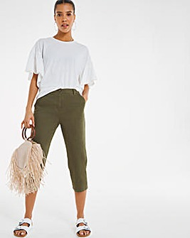 Khaki Crop Stretch Chino Trouser