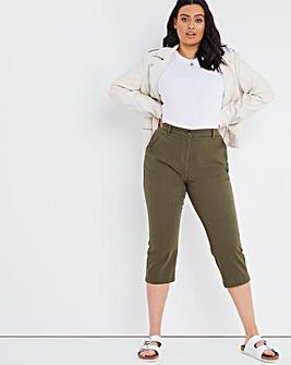 Khaki Crop Stretch Chino Trouser