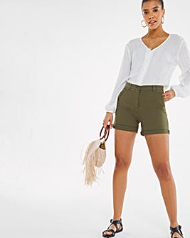 Khaki Stretch Chino Shorts