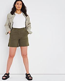 Khaki Cotton Rich Stretch Chino Shorts