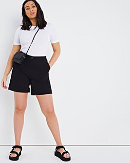 Black Stretch Chino Shorts
