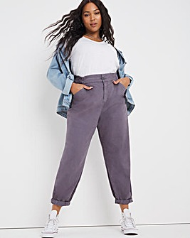 Grey Loose Fit Trousers With Elasticated Waist