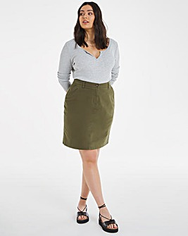 Khaki Stretch Chino Skirt