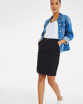 Black Stretch Chino Skirt