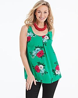 Green Floral Printed Vest