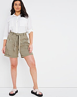 Soft Khaki Soft Touch Belted Shorts