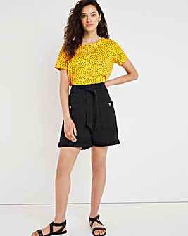 Washed Black Soft Touch Belted Shorts