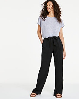 Washed Black Belted Tencel Wide Leg Trousers