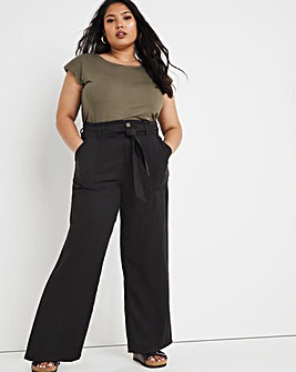 Washed Black Soft Lyocell Belted Wide Leg Trousers