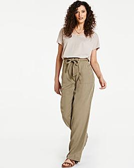 Khaki Soft Tencel Belted Wide Leg Trousers
