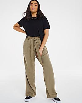 Khaki Belted Tencel Wide Leg Trousers