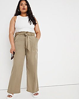 Khaki Soft Tencel Belted Wide Leg Trousers