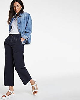 Navy Wide Leg Crop Carpenter Trousers With Contrast Stitch