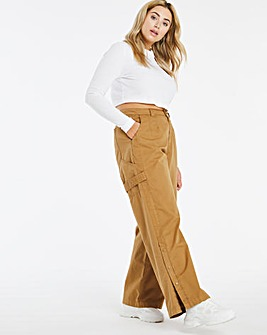 Camel Loose Fit Poplin Trousers