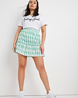 Gingham Shirred Mini Skirt
