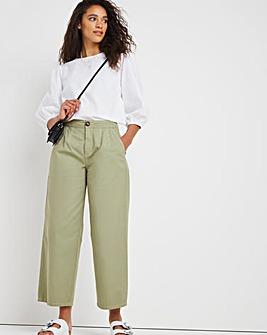 Sage Wide Leg Crop Carpenter Trousers With Contrast Stitch