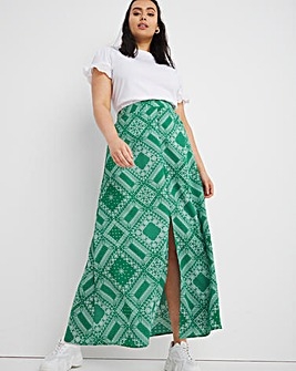 Green Print Split Front Maxi Skirt
