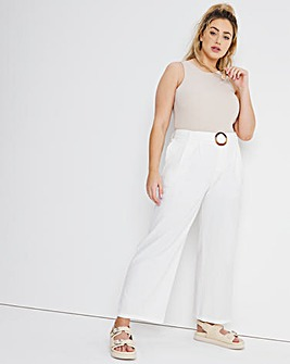 White Buckle Front Wide Leg Trousers