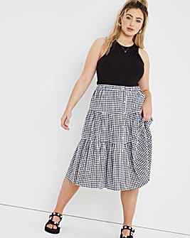 Gingham Tiered Button Through Midi Skirt