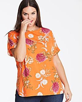 Orange Floral Drop Sleeve Top