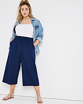 Navy Shirred Waist Poplin Wide Leg Culottes