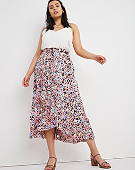 Animal Print Satin Frill Midi Skirt