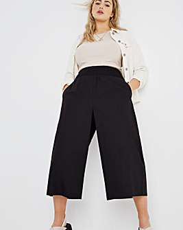 Black Shirred Waist Poplin Wide Leg Culottes