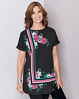 Black Floral Longline Drop Sleeve Top
