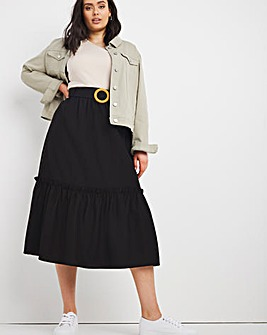 Buckle Tiered Midi Skirt