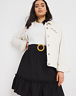 Black Buckle Tiered Linen Mix Mini Skirt