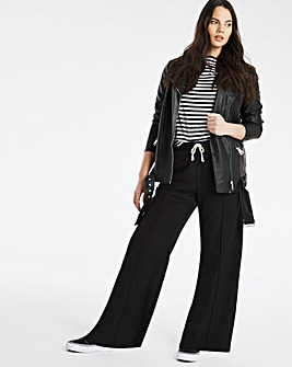 Black Wide Leg Drawstring Woven Jogger