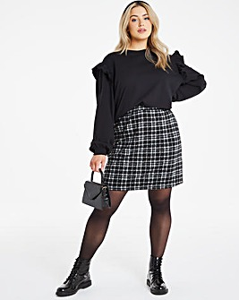 Black Check A-Line Mini Skirt