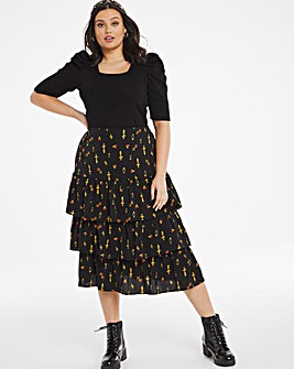 Jewel Print Tiered Midi Skirt