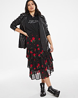 Rose Tiered Midi Skirt